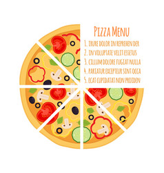 Flat vegetarian pizza menu margherita with tomato vector