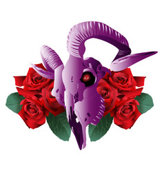 Goat skull modern style and roses vector