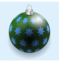Green and blue stars christmas ball reflecting vector