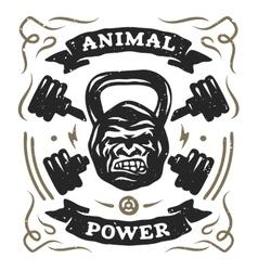 Head gorilla weight shirt design vector