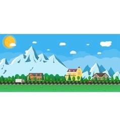 Houses in the mountains among the trees road vector image vector image