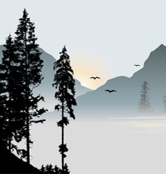 Mountain view with flying birds during sunrise vector image vector image