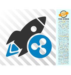 ripple rocket flat icon with bonus vector image vector image