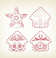 set of christmas doodle decorative for design vector image vector image
