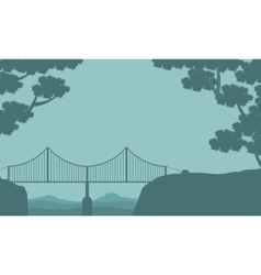 Silhouette of bridge and tree landscape vector image vector image