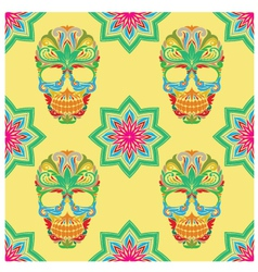 Skull and Lotus Pattern vector image vector image