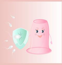 Spermatozoon attack the female vaginal condom vector