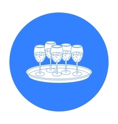 Tray with champagne glasses icon in black style vector