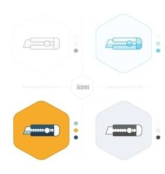 Utility knife icon 4 design vector image