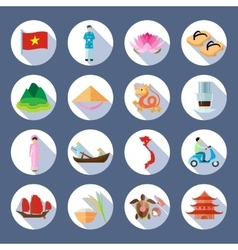 Vietnamese symbols flat round icons set vector