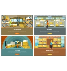 Warehouse storage and delivery banners vector