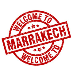 Welcome to marrakech red stamp vector
