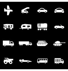 White vehicles icon set vector