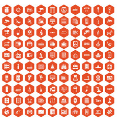 100 hardware icons hexagon orange vector