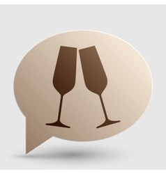 Sparkling champagne glasses brown gradient icon vector