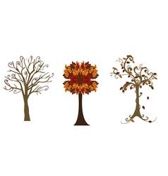 Three autumn trees vector image
