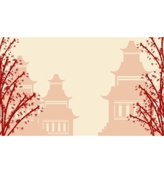 Background of pavilion and bamboo tree vector