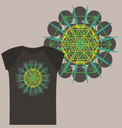 Star tetrahedron design for a t shirt vector