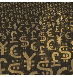 Currency symbols grunge background vector
