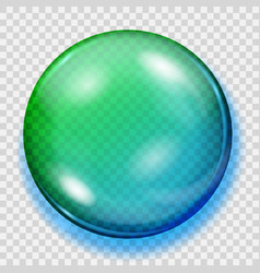 transparent blue and green sphere with shadow vector image