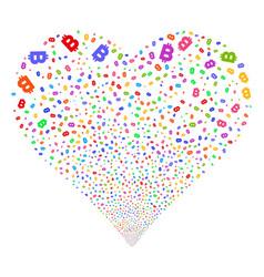 bitcoin fireworks heart vector image