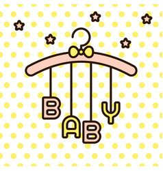 Baby word hanging on rack vector