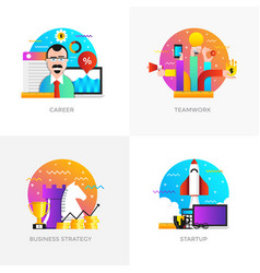 Flat designed concepts - career teamwork vector