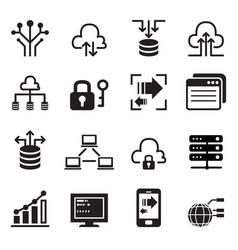 Data technology icons set vector