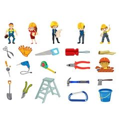 Construction worker set vector image