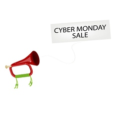 A musical bugle blowing cyber monday flag vector