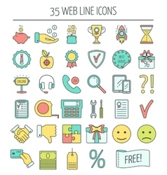 35 linear web icons color moder line icons for vector