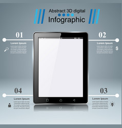 3d infographic tablet icon vector image vector image