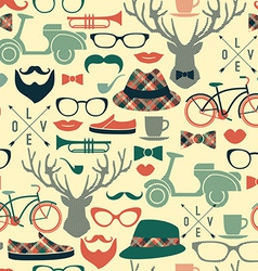 Hipster seamless pattern vintage vector