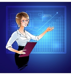 Business woman at a presentation vector