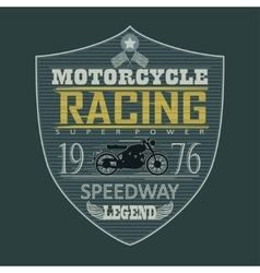 Motorcycle racing emblem t-shirt vector