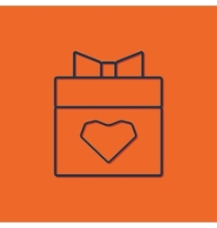 Present heart icon vector