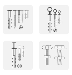 Monochrome icon set with dowel nails nuts vector
