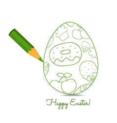 Happy easter pencil drawing egg so cute vector