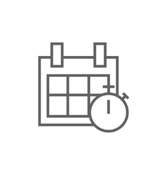 Calendar and stopwatch line icon vector