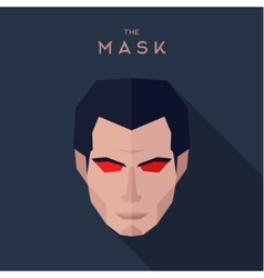Mask abstract character of a man with red eyes vector