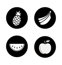 Fruit black icons set vector