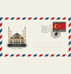 An envelope with a postage stamp with hagia sophia vector