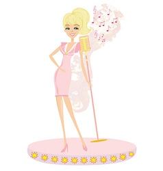 Beautiful glamour karaoke girl vector image