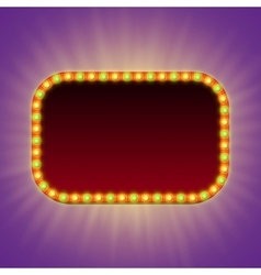 Blank 3d retro light banner with shining bulbs vector image vector image
