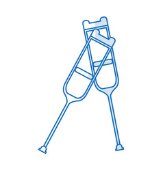 blue silhouette shading pair of medical crutches vector image vector image