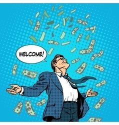 Business concept success businessman flying money vector