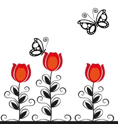 butterflies and flowers 17 vector image vector image