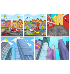 cartoon set of city backgrounds vector image vector image