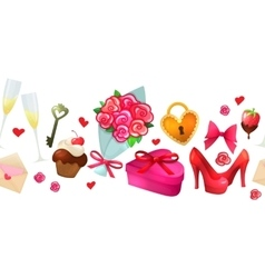 Cartoon valentine horizontal border vector