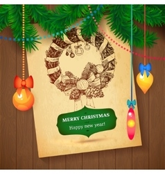 Christmas Hand Drawn Wreath sketch paper vector image vector image